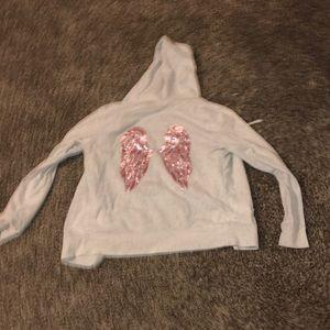 Gray Victoria's Secret Sequin Wing Zip Up Hoodie